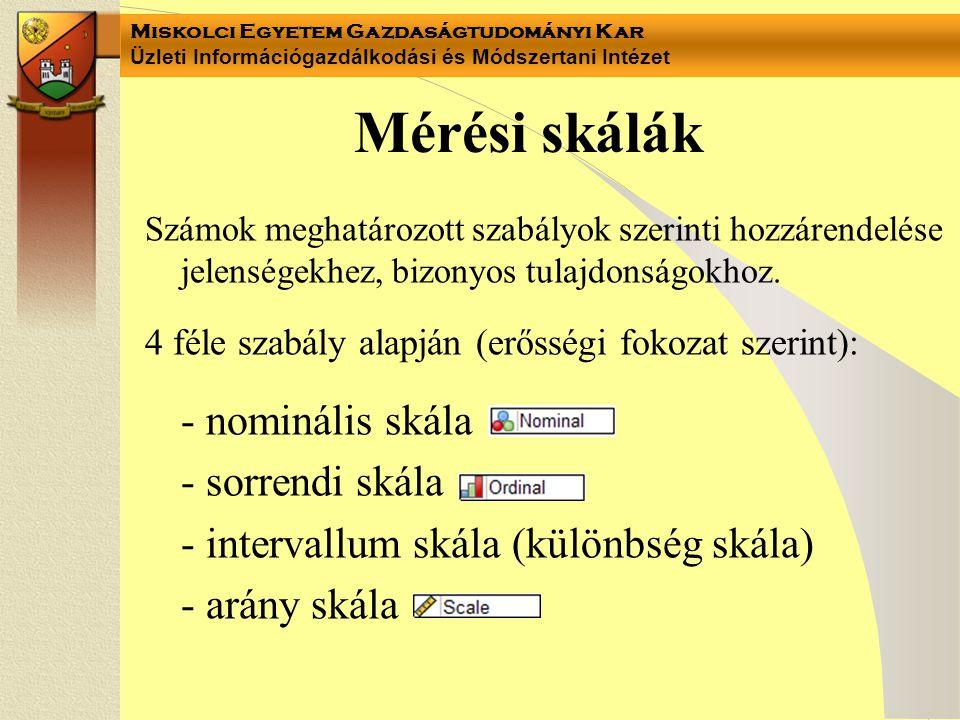 Mérési skálák - nominális skála - sorrendi skála