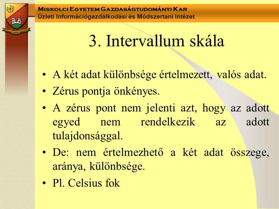 3. Intervallum skála A két adat különbsége értelmezett, valós adat.