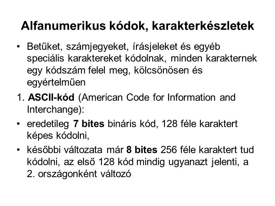 Alfanumerikus kódok, karakterkészletek