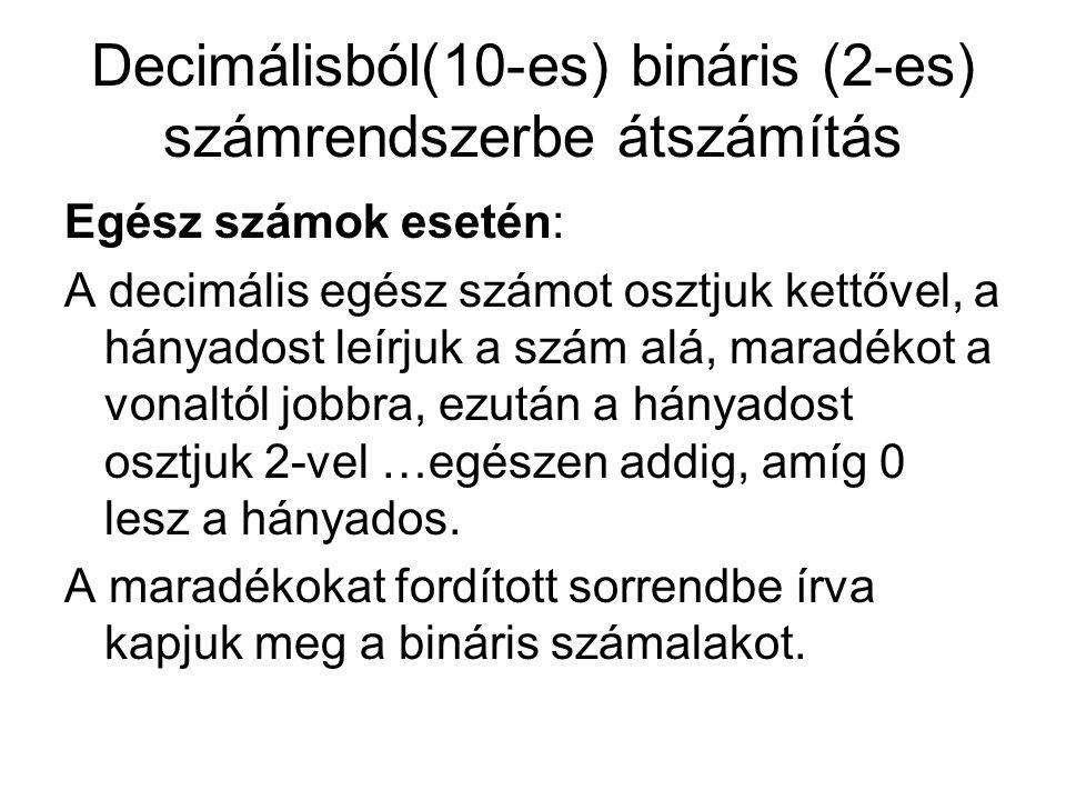 Decimálisból(10-es) bináris (2-es) számrendszerbe átszámítás