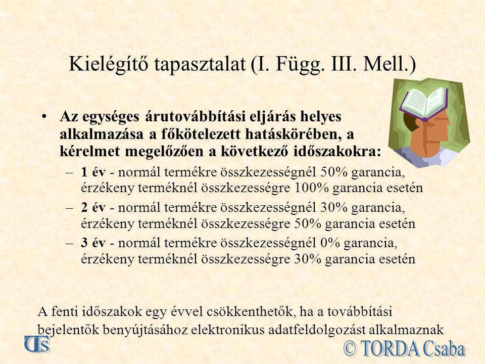 Kielégítő tapasztalat (I. Függ. III. Mell.)