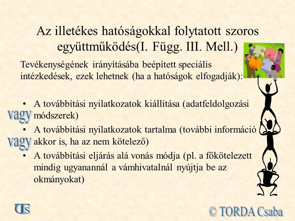 Az illetékes hatóságokkal folytatott szoros együttműködés(I. Függ. III