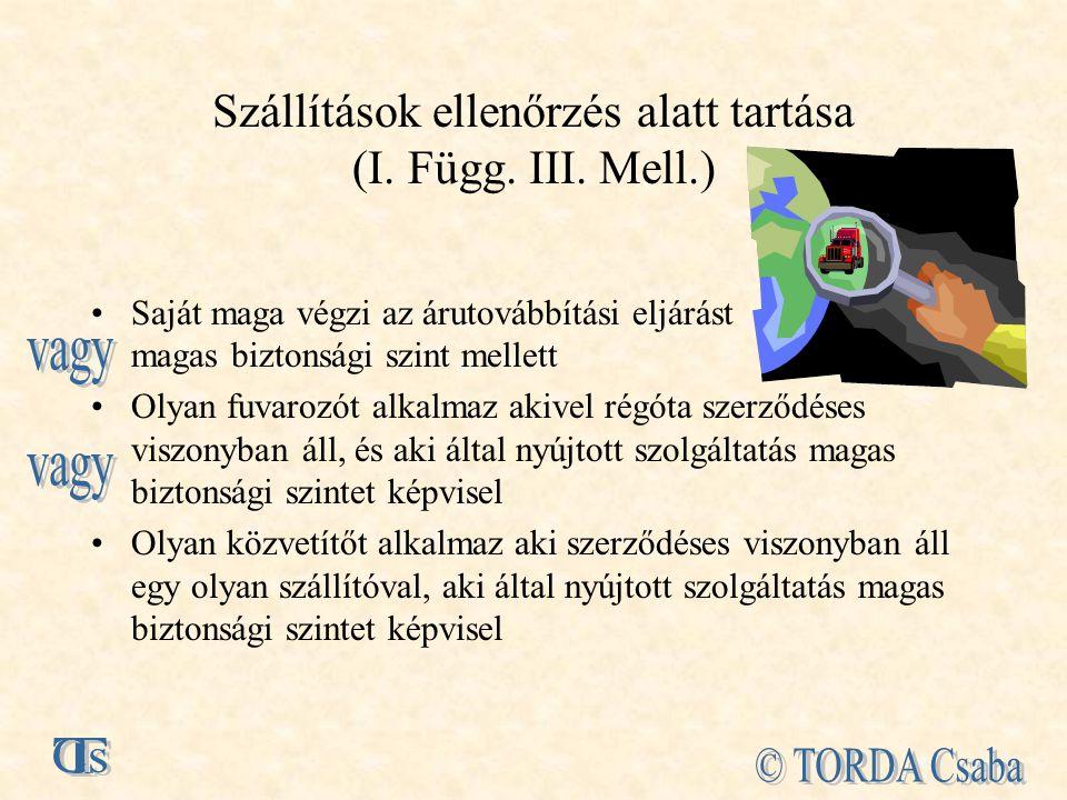 Szállítások ellenőrzés alatt tartása (I. Függ. III. Mell.)