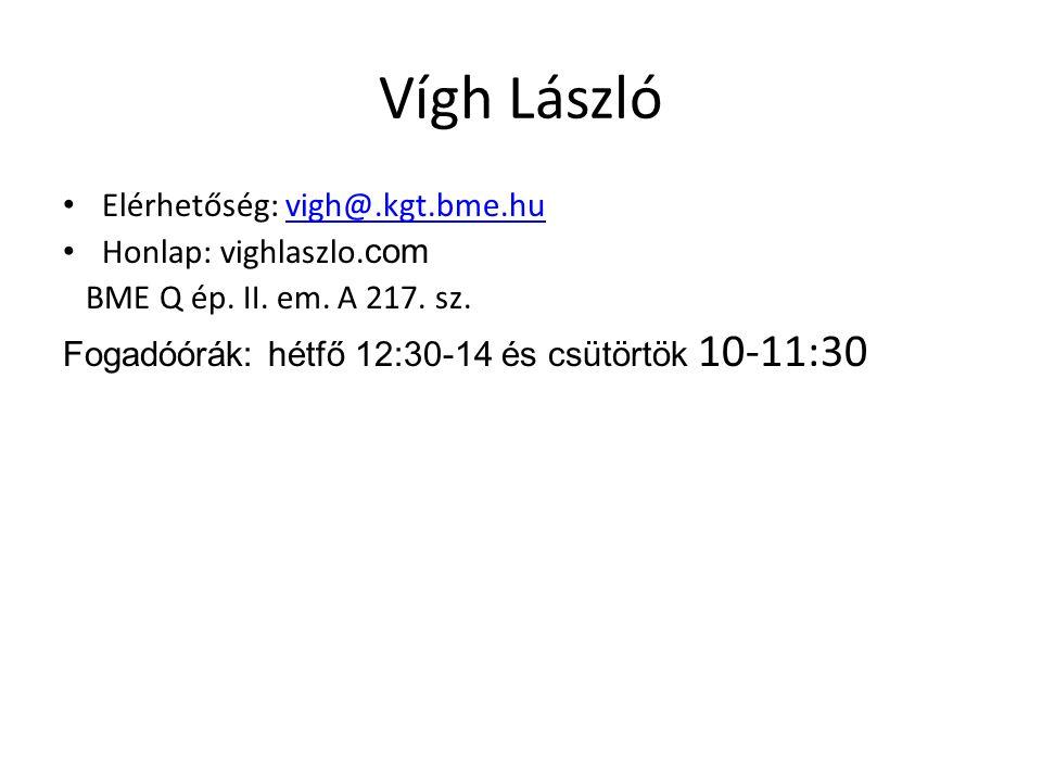 Vígh László Elérhetőség: vigh@.kgt.bme.hu Honlap: vighlaszlo.com