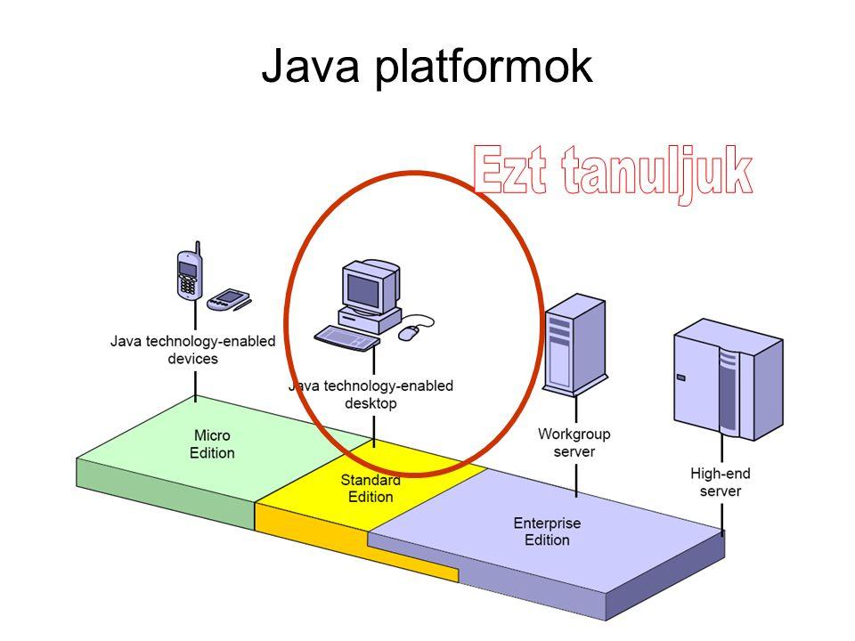 Java platformok Ezt tanuljuk