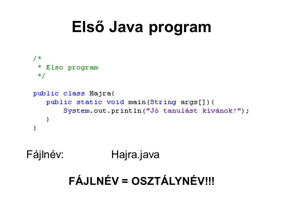 Első Java program Fájlnév: Hajra.java FÁJLNÉV = OSZTÁLYNÉV!!!