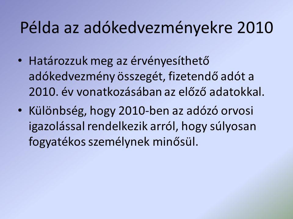 Példa az adókedvezményekre 2010