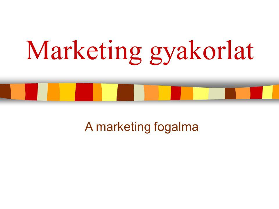 Marketing gyakorlat A marketing fogalma