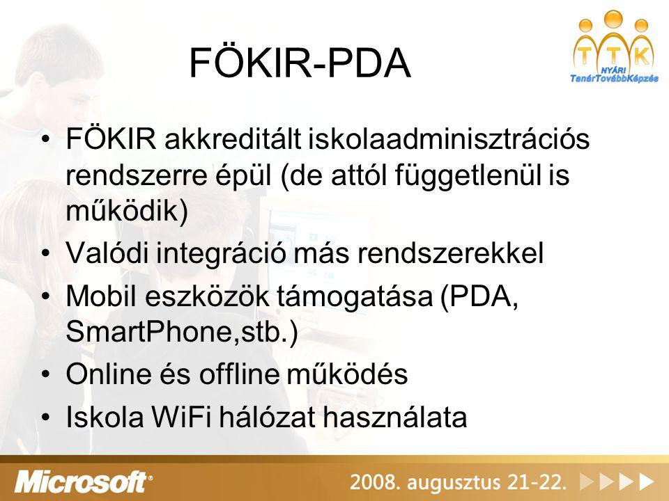 FÖKIR-PDA FÖKIR akkreditált iskolaadminisztrációs rendszerre épül (de attól függetlenül is működik)