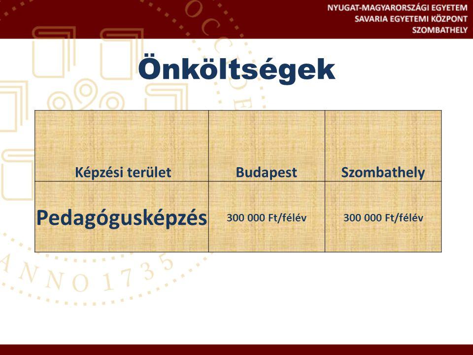 Önköltségek Pedagógusképzés Képzési terület Budapest Szombathely
