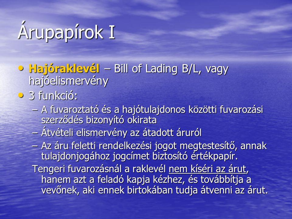 Árupapírok I Hajóraklevél – Bill of Lading B/L, vagy hajóelismervény