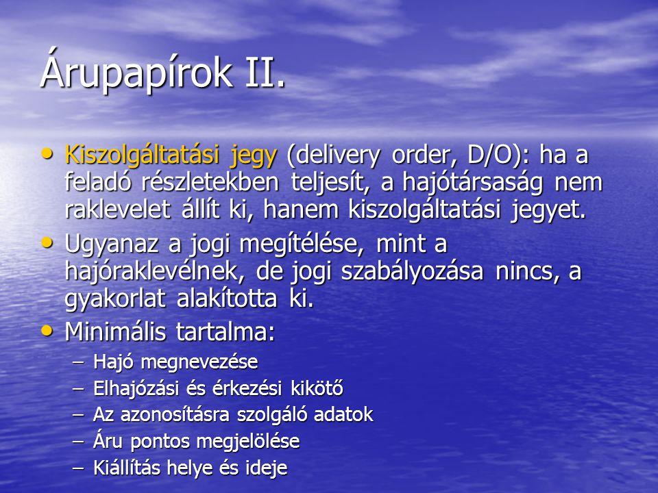 Árupapírok II.