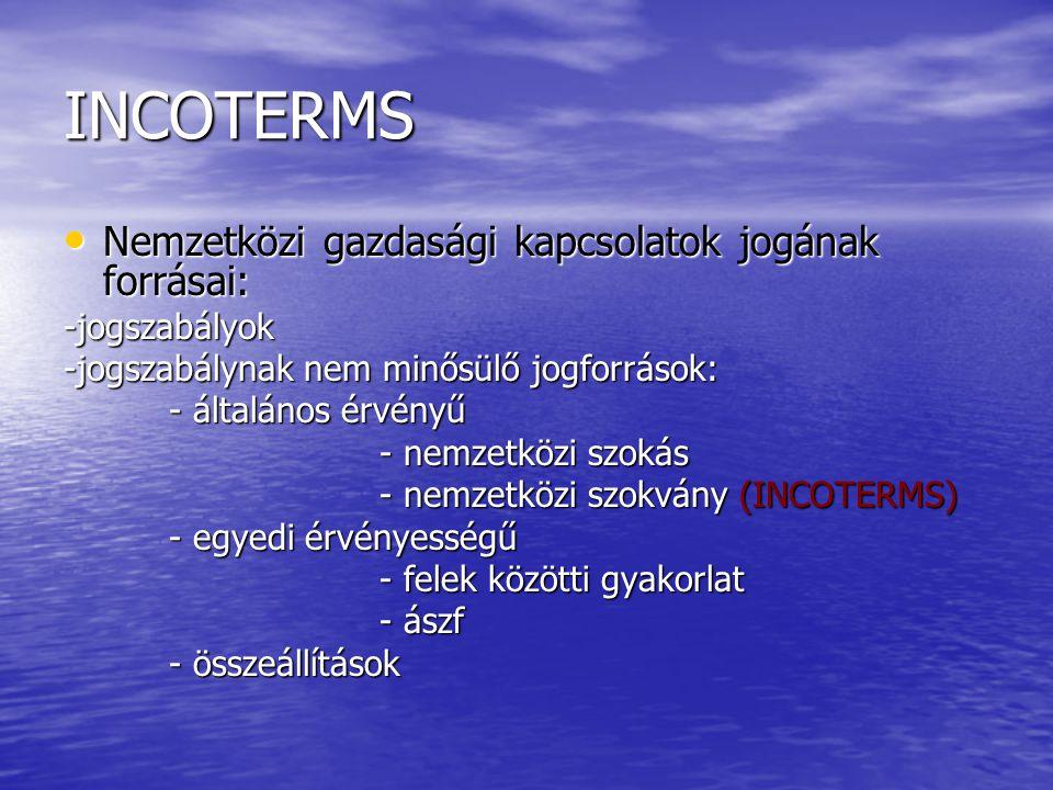 INCOTERMS Nemzetközi gazdasági kapcsolatok jogának forrásai: