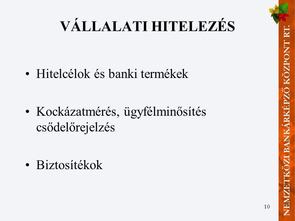 VÁLLALATI HITELEZÉS Hitelcélok és banki termékek