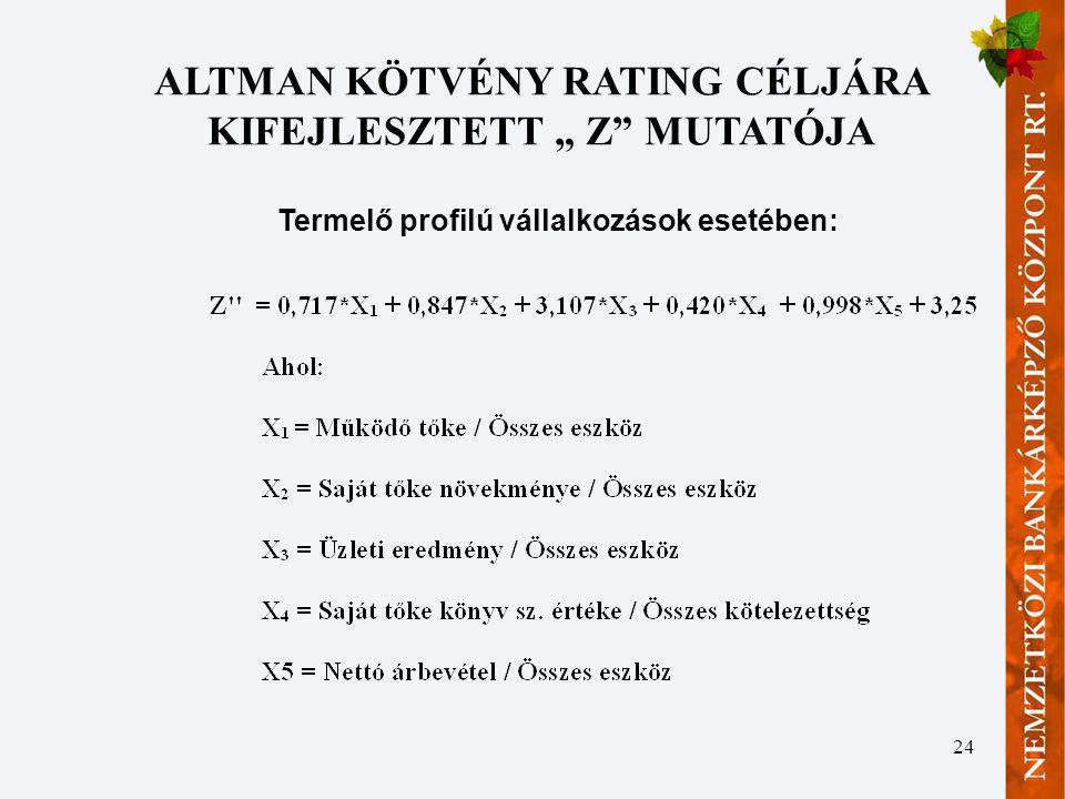 """ALTMAN KÖTVÉNY RATING CÉLJÁRA KIFEJLESZTETT """" Z MUTATÓJA"""
