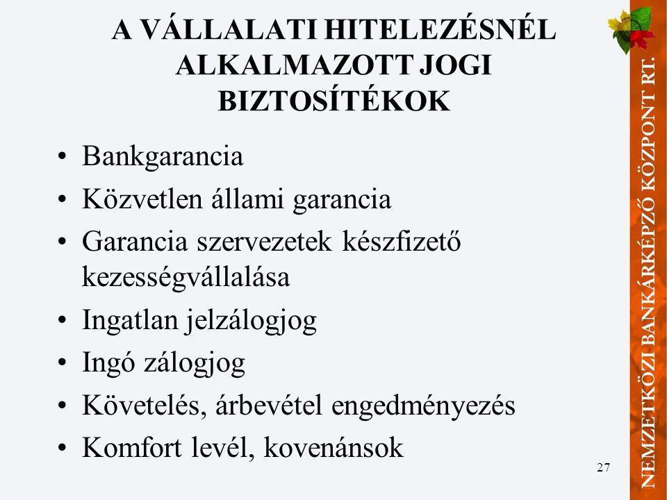 A VÁLLALATI HITELEZÉSNÉL ALKALMAZOTT JOGI BIZTOSÍTÉKOK