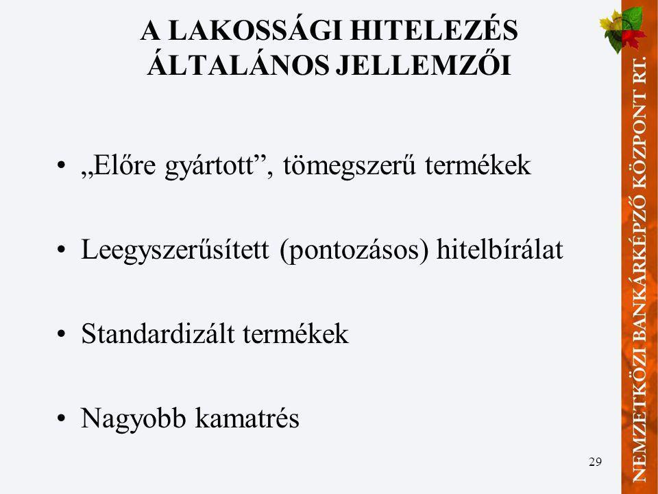 A LAKOSSÁGI HITELEZÉS ÁLTALÁNOS JELLEMZŐI