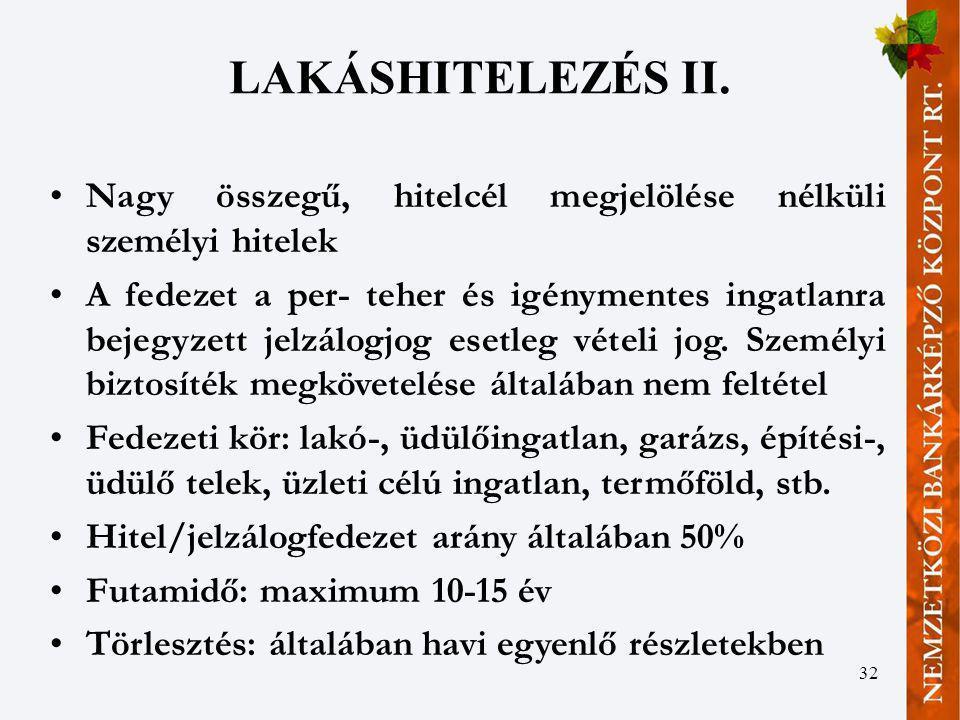 LAKÁSHITELEZÉS II. Nagy összegű, hitelcél megjelölése nélküli személyi hitelek.