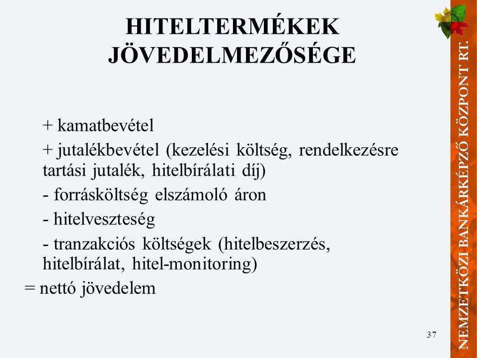 HITELTERMÉKEK JÖVEDELMEZŐSÉGE