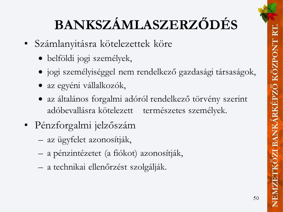 BANKSZÁMLASZERZŐDÉS Számlanyitásra kötelezettek köre