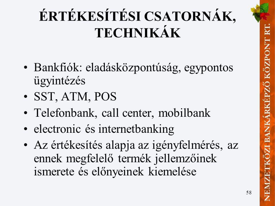 ÉRTÉKESÍTÉSI CSATORNÁK, TECHNIKÁK