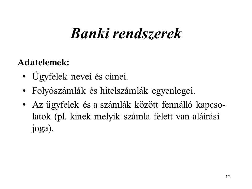 Banki rendszerek Adatelemek: Ügyfelek nevei és címei.