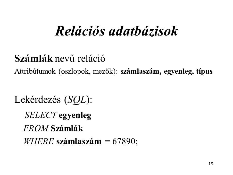 Relációs adatbázisok Számlák nevű reláció Lekérdezés (SQL):