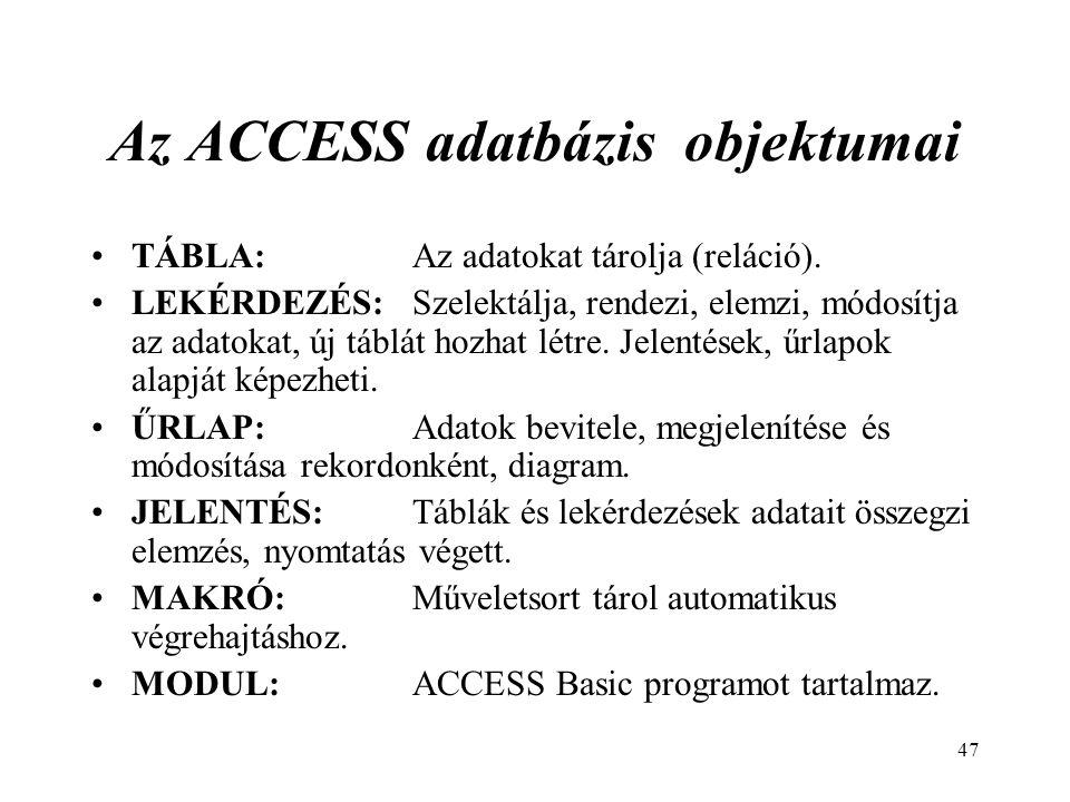Az ACCESS adatbázis objektumai