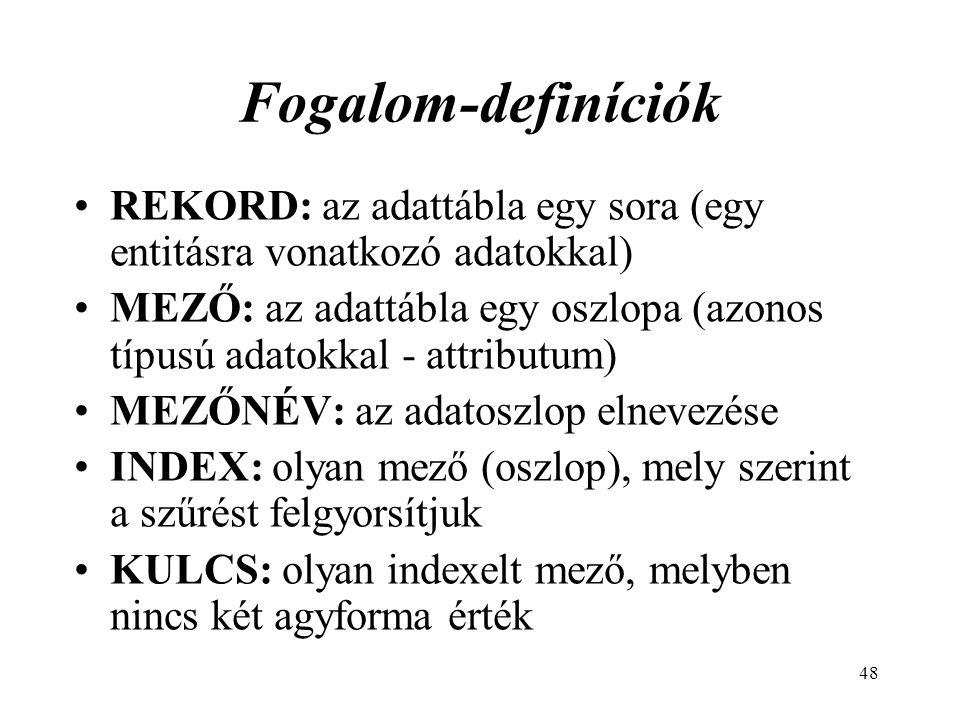 Fogalom-definíciók REKORD: az adattábla egy sora (egy entitásra vonatkozó adatokkal)