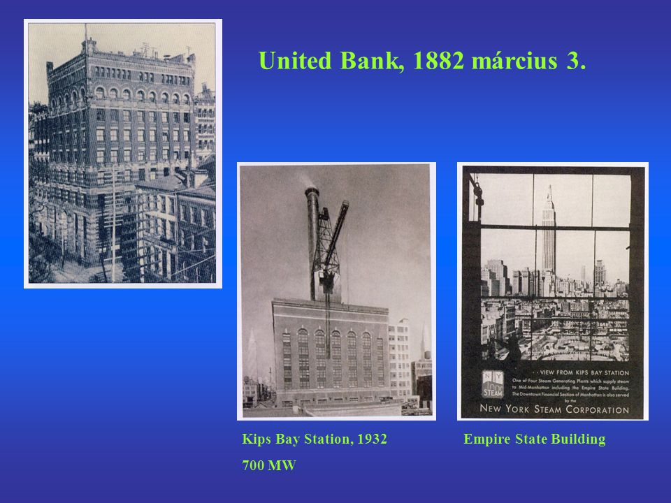 United Bank, 1882 március 3. Kips Bay Station, 1932 700 MW