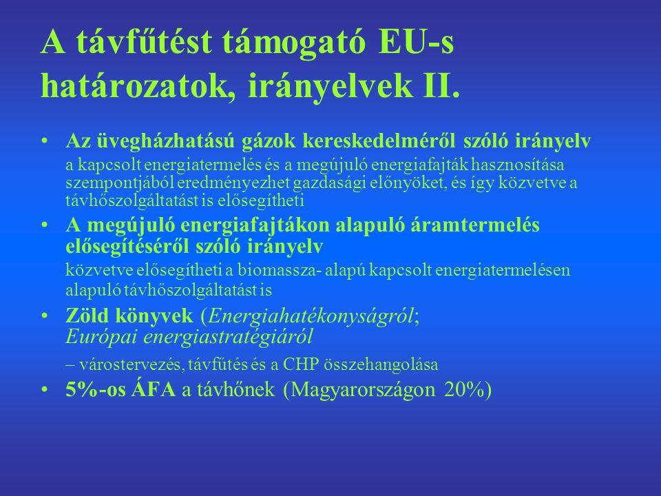 A távfűtést támogató EU-s határozatok, irányelvek II.