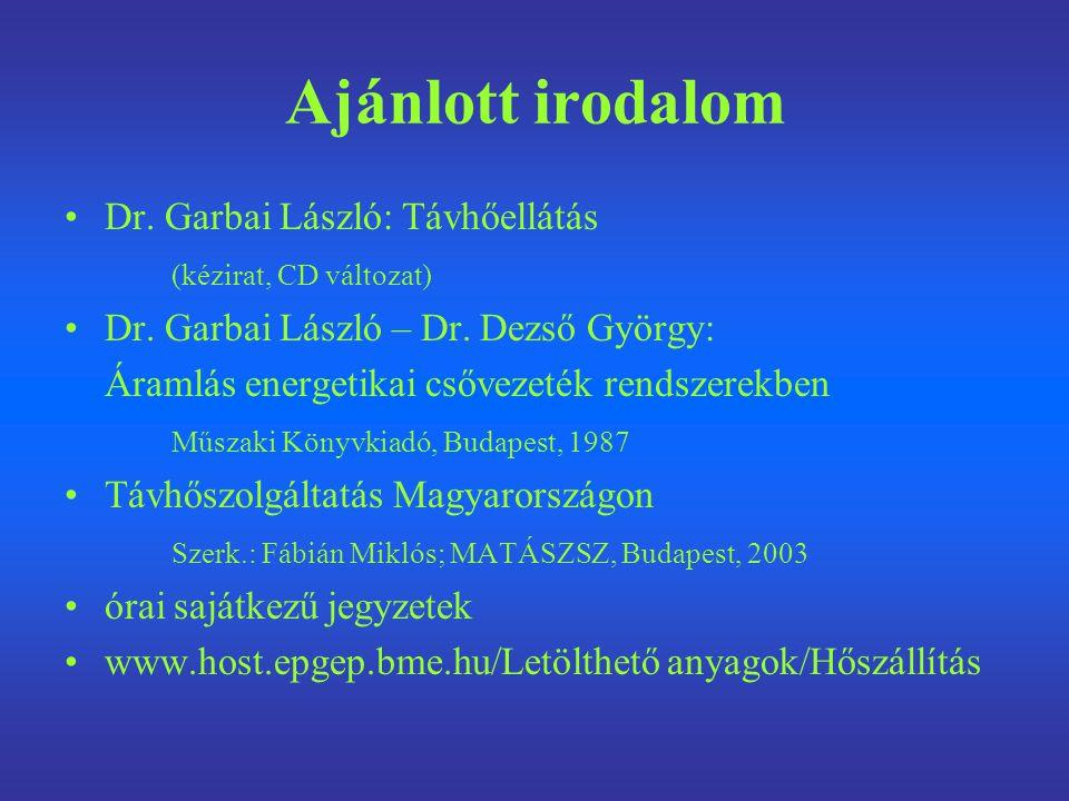 Ajánlott irodalom Dr. Garbai László: Távhőellátás