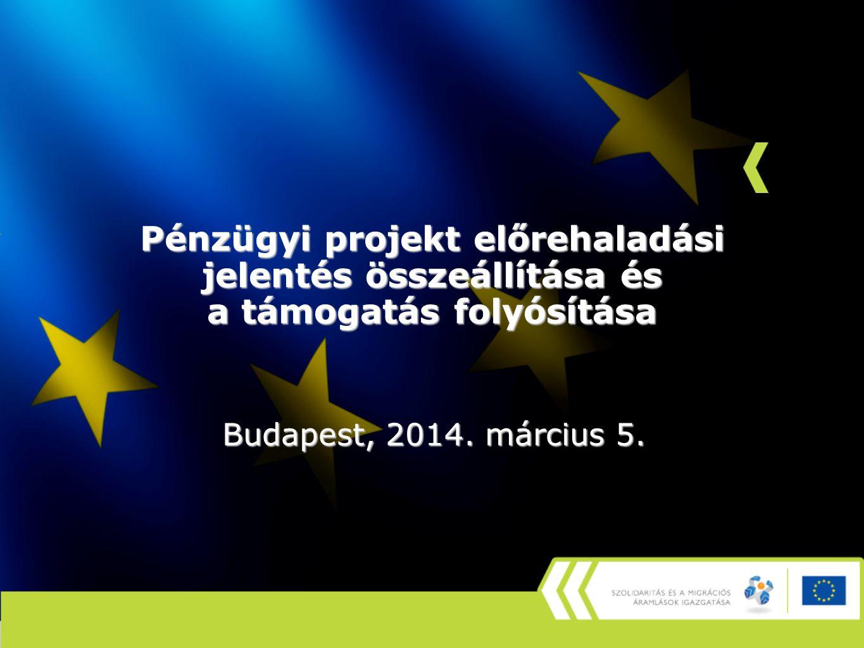 Pénzügyi projekt előrehaladási jelentés összeállítása és a támogatás folyósítása