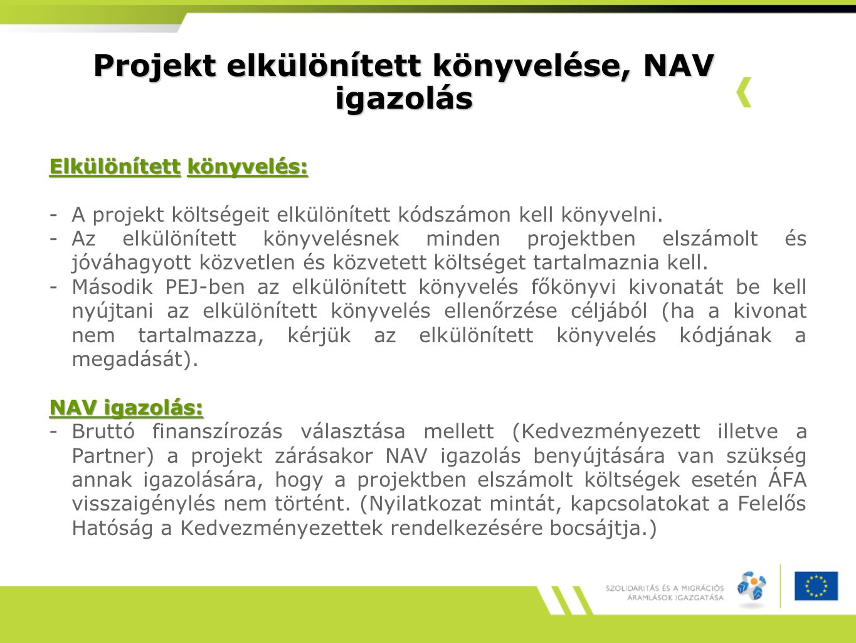 Projekt elkülönített könyvelése, NAV igazolás