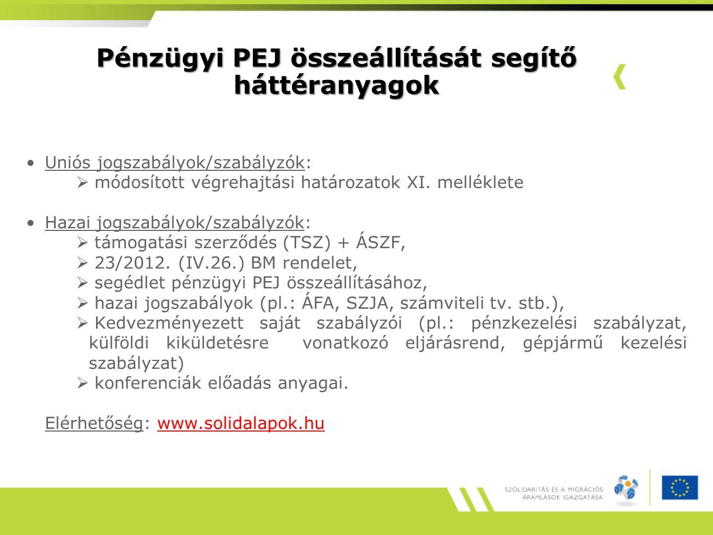 Pénzügyi PEJ összeállítását segítő háttéranyagok