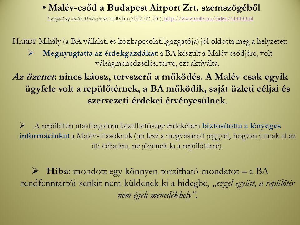 • Malév-csőd a Budapest Airport Zrt. szemszögéből