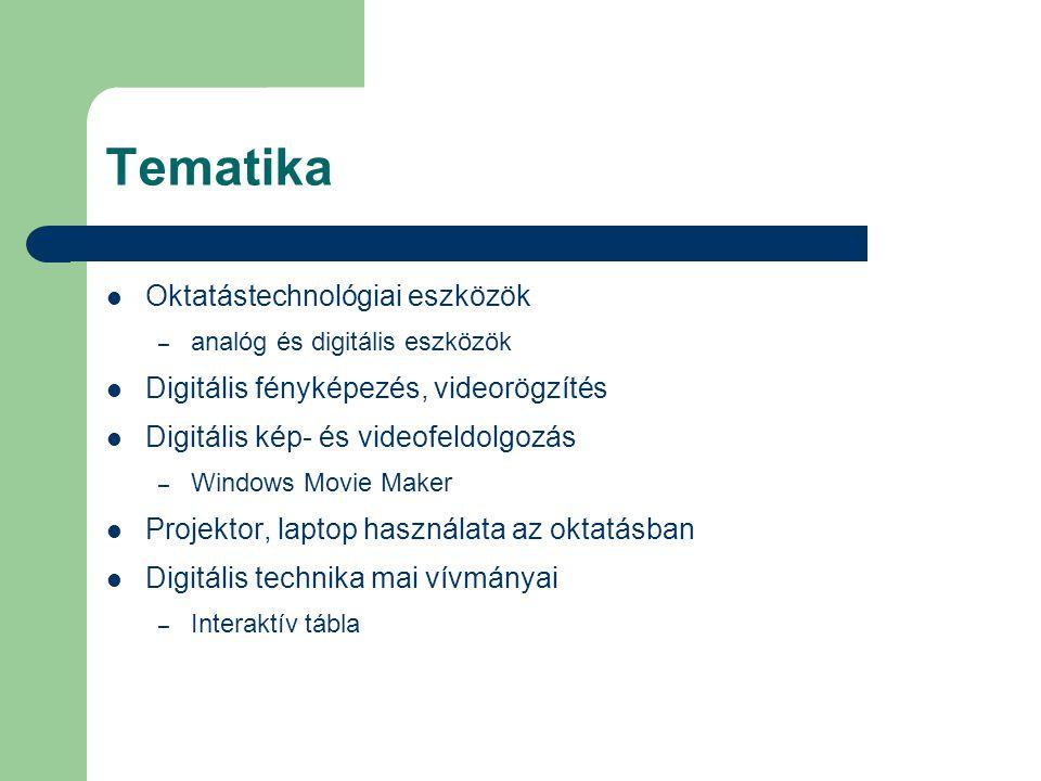 Tematika Oktatástechnológiai eszközök