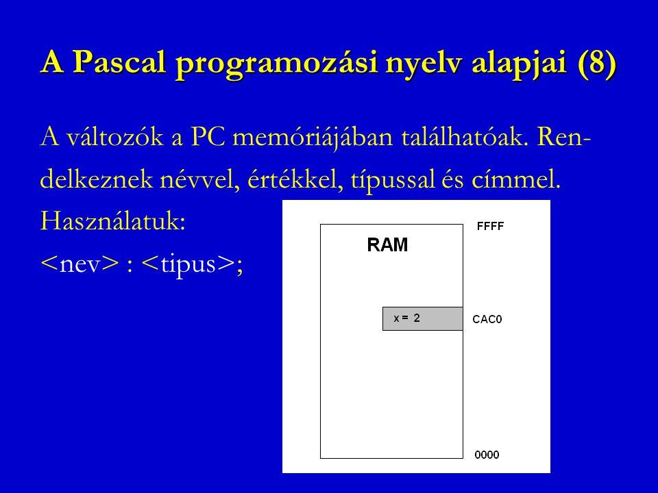 A Pascal programozási nyelv alapjai (8)