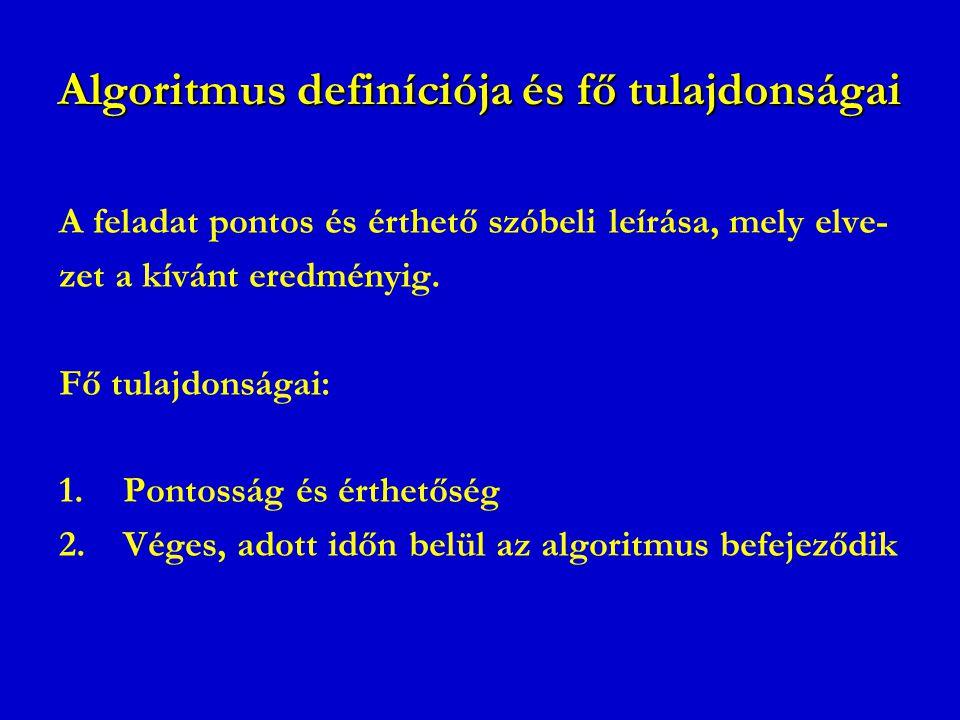 Algoritmus definíciója és fő tulajdonságai