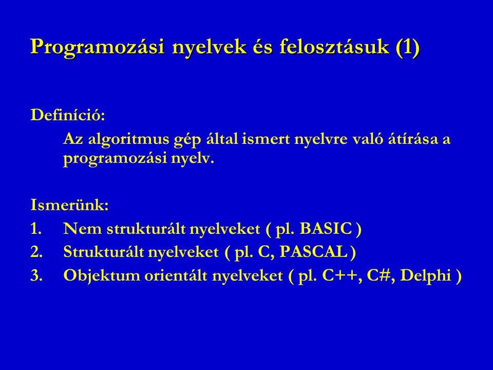 Programozási nyelvek és felosztásuk (1)