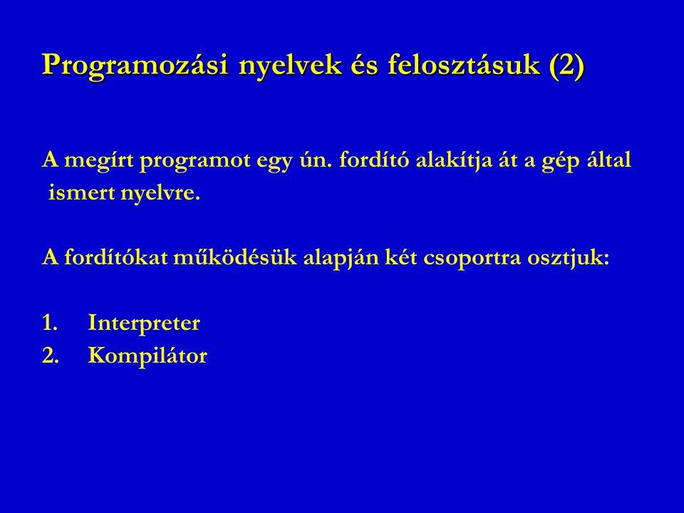Programozási nyelvek és felosztásuk (2)