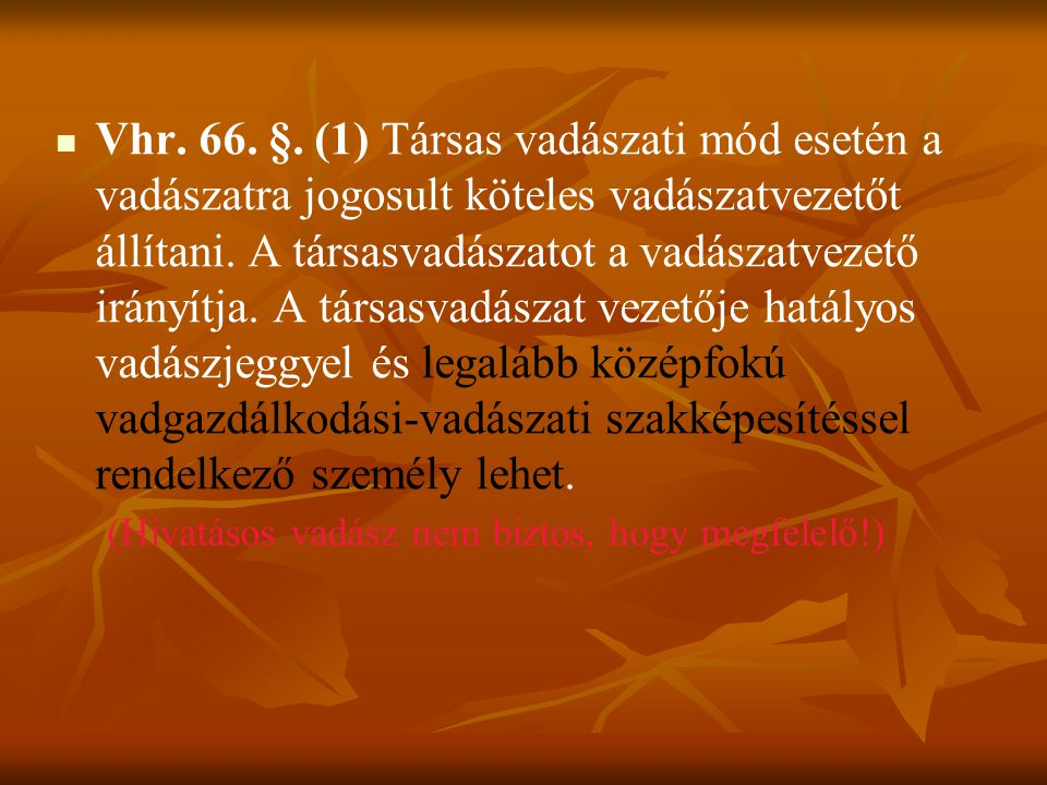 Vhr. 66. §.