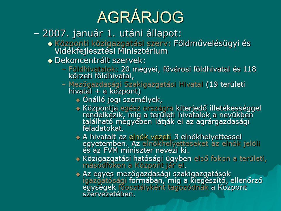 AGRÁRJOG 2007. január 1. utáni állapot: