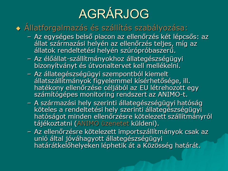 AGRÁRJOG Állatforgalmazás és szállítás szabályozása: