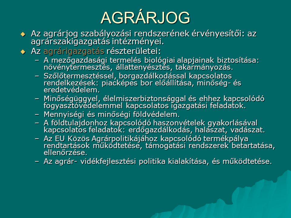 AGRÁRJOG Az agrárjog szabályozási rendszerének érvényesítői: az agrárszakigazgatás intézményei. Az agrárigazgatás részterületei: