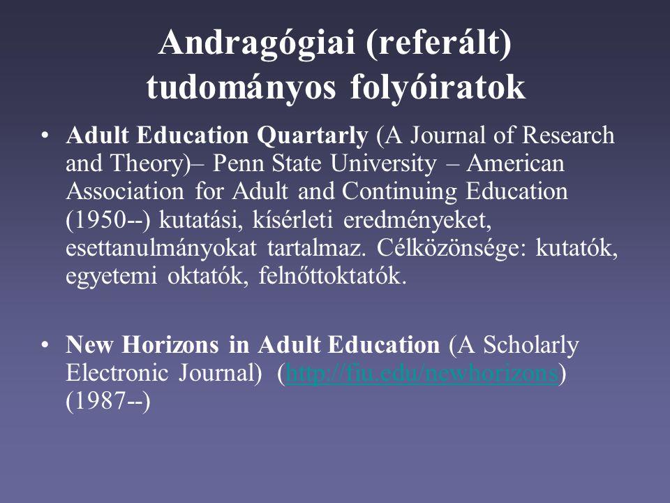 Andragógiai (referált) tudományos folyóiratok