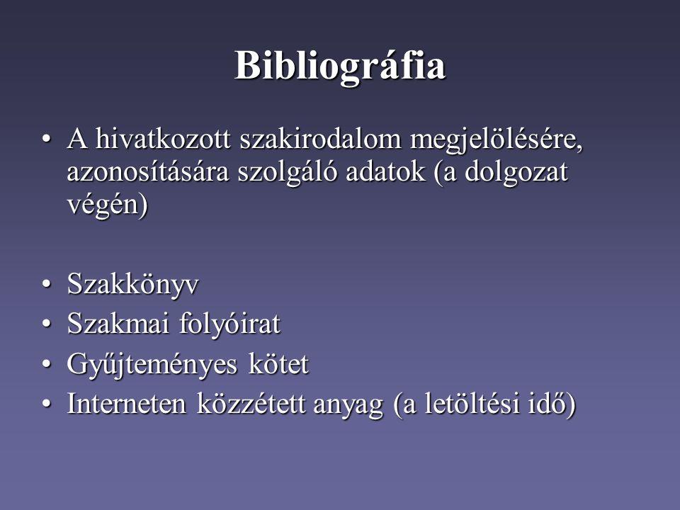 Bibliográfia A hivatkozott szakirodalom megjelölésére, azonosítására szolgáló adatok (a dolgozat végén)
