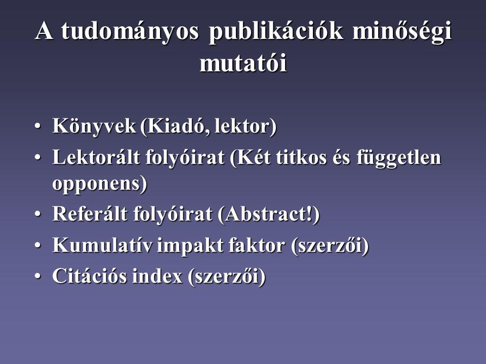 A tudományos publikációk minőségi mutatói