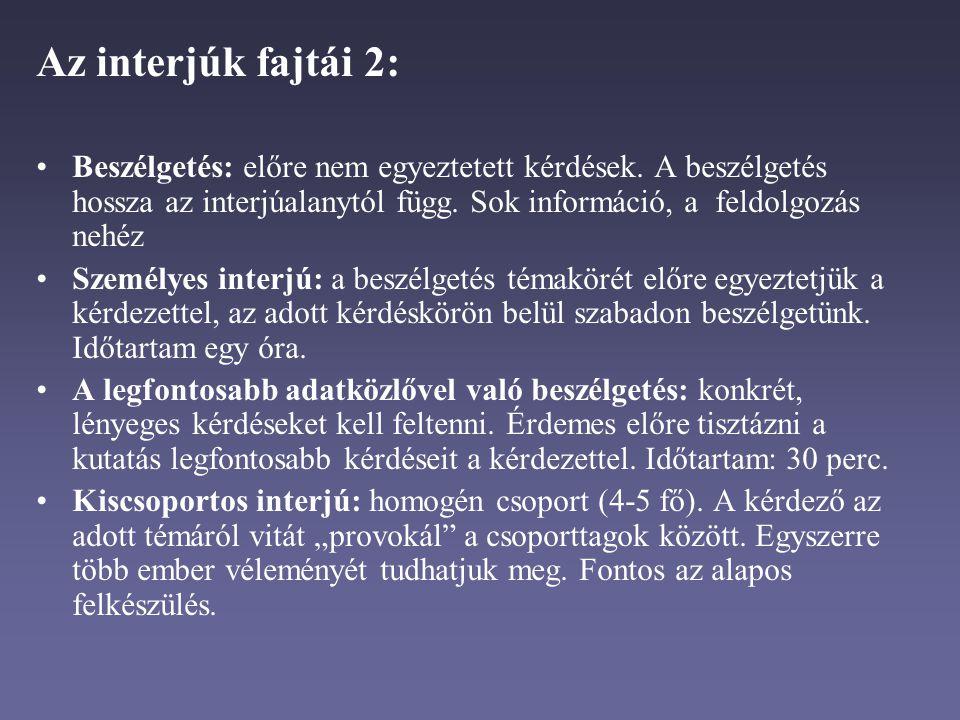 Az interjúk fajtái 2: Beszélgetés: előre nem egyeztetett kérdések. A beszélgetés hossza az interjúalanytól függ. Sok információ, a feldolgozás nehéz.