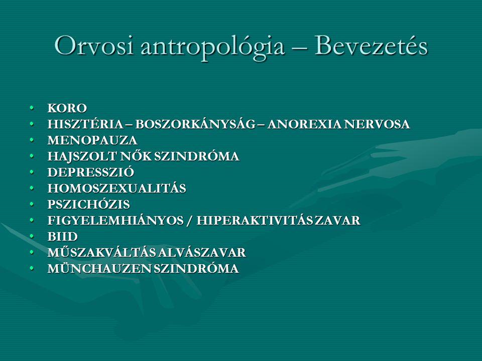 Orvosi antropológia – Bevezetés